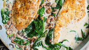 Pan Seared Chicken in Mushroom Spinach Cream Sauce
