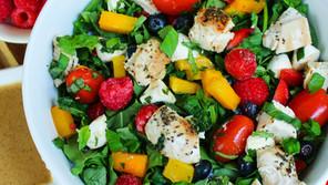 Raspberry Mango Caprese Salad with Lemon Honey Balsamic Vinaigrette