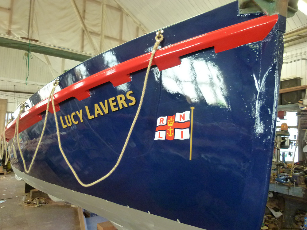 The Lifeboat Lucy Lavers painted in her original blue and red colours