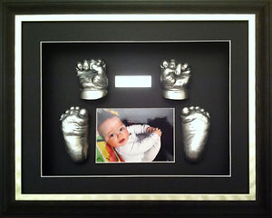 silver baby hands and feet framed
