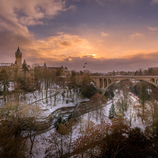 Luxembourg Pont Adolphe Petrusse snow.jp