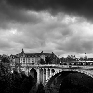 Luxembourg Pont Adolphe with tram and BCEE