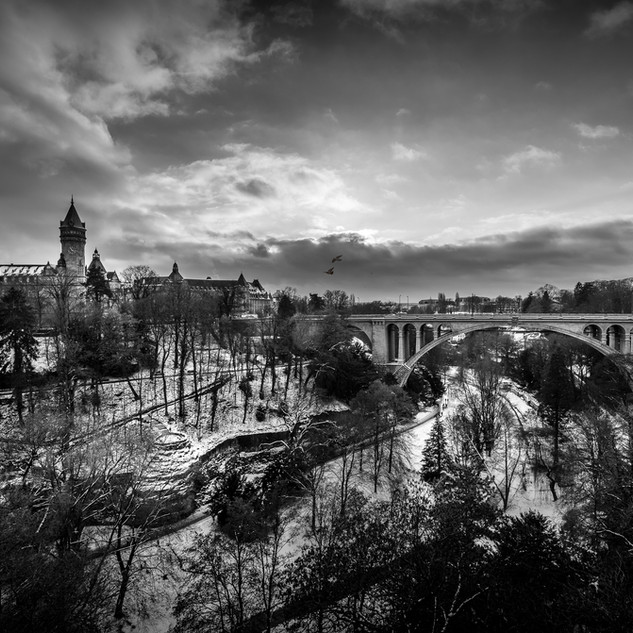 Luxembourg Pont Adolphe Petrusse snow BW