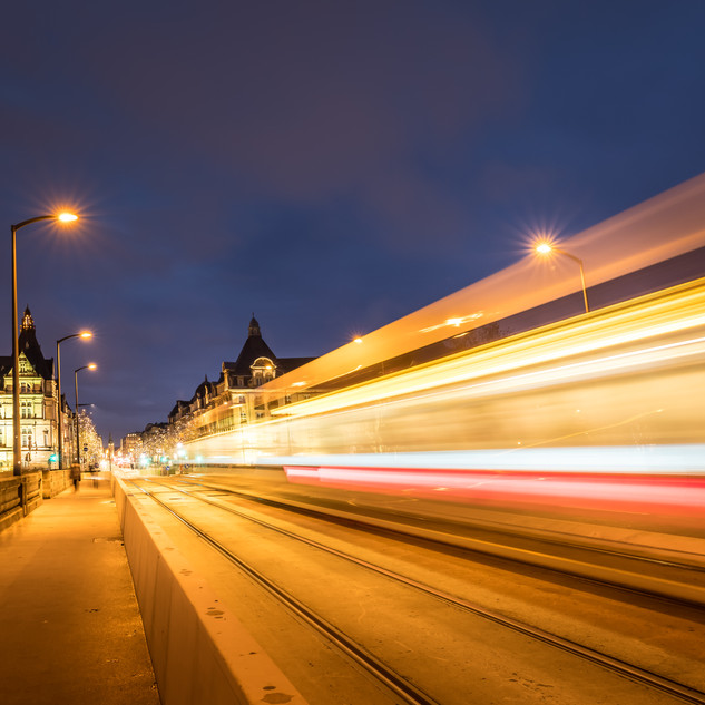 Luxembourg Pont Adolphe with lighttrail from Tram