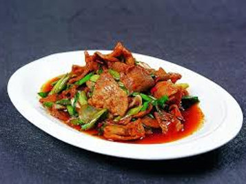 Stir fried prok slices with chillies (10328)