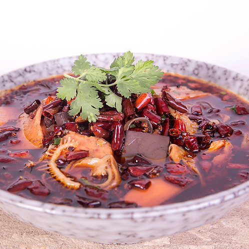 Beef tripe, pork intestines, and duck blood jelly in chilli oil (37024)