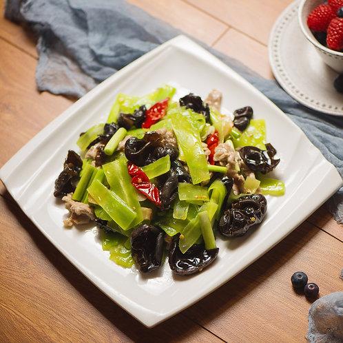 Stir fried black fungus with pork and celtus plant (31518)