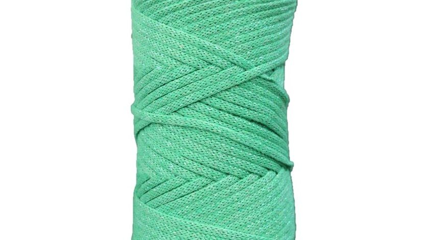Sparkly Cotton Cord (4mm) 130 yards GREEN-SILVER