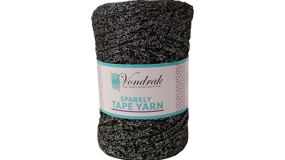 Sparkly Tape Yarn 130 yards BLACK-SILVER