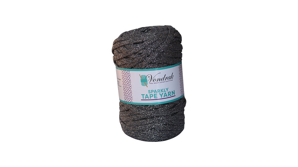 Sparkly Tape Yarn 130 yards CHARCOAL-SILVER