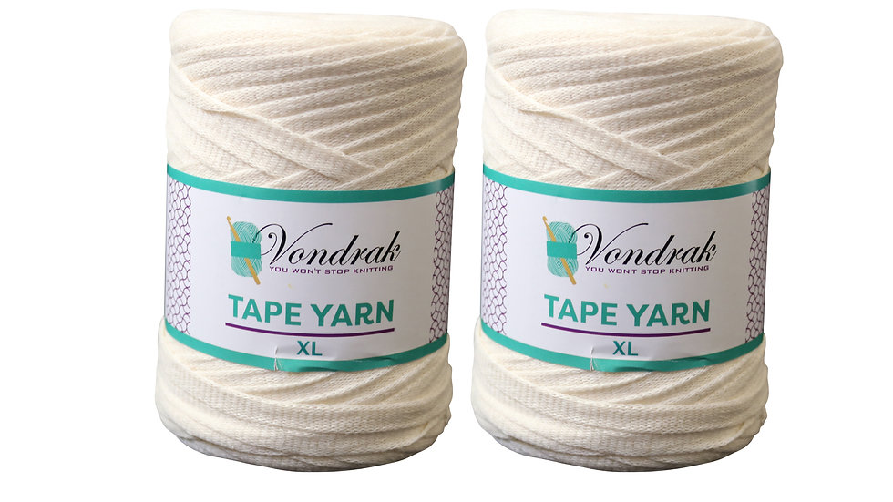 Tape Yarn 328 yards Cotton (2 Rolls) OFF WHITE