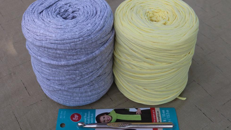 DIY Crochet Kit Basket Project (T shirt yarn kit) Soft Yellow-Gray