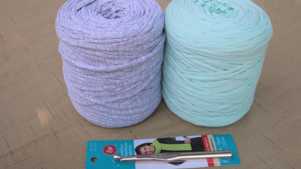 DIY Crochet Kit Basket Project (T shirt yarn kit) Light Gray/Mint