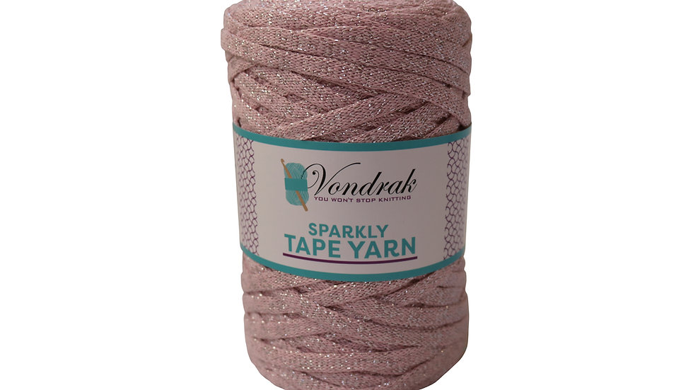 Sparkly Tape Yarn 130 yards PINK-SILVER