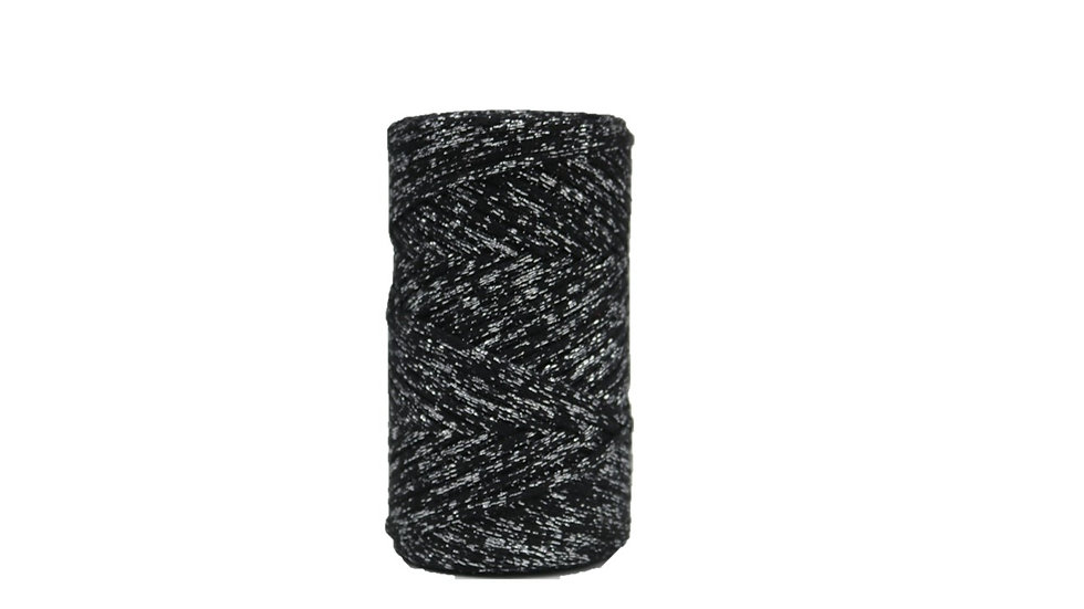 Sparkly Cotton Cord (4mm) 130 yards BLACK