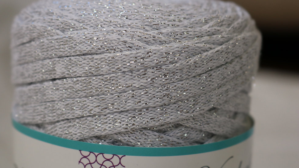 Sparkly Tape Yarn 130 yards WHITE-SILVER