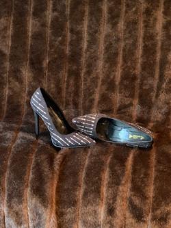 Studded Black Satin 4-inch Heels - Size 10
