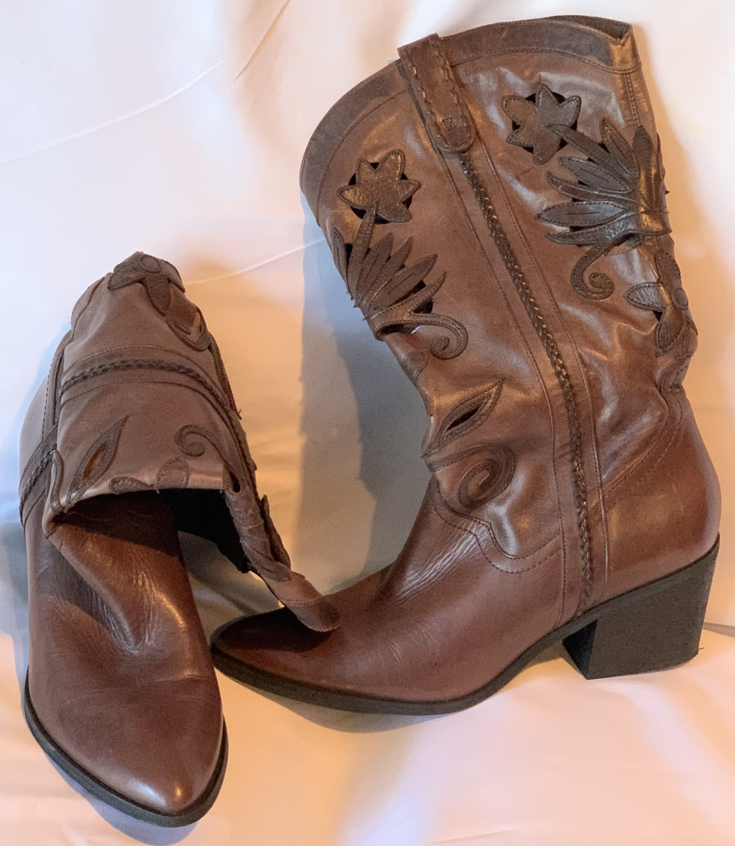 Leather Cowgirl Boots - Size 10
