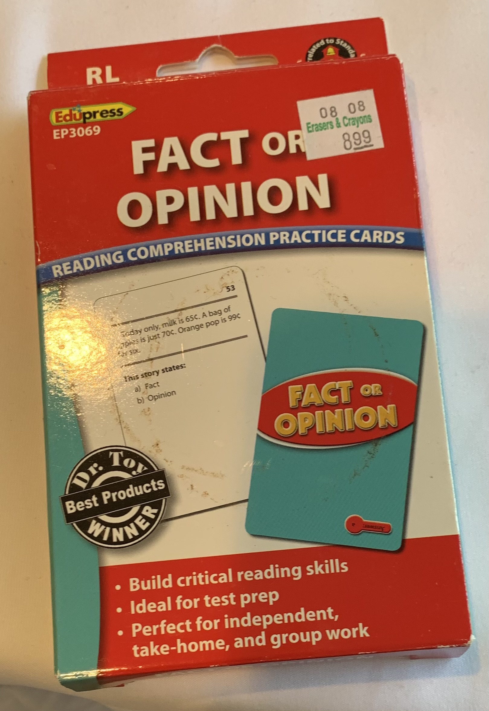 Reading Comprehension Cards - Fact or Opinion