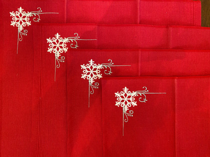 Item #42 - Snowflake Embroidered Placemats