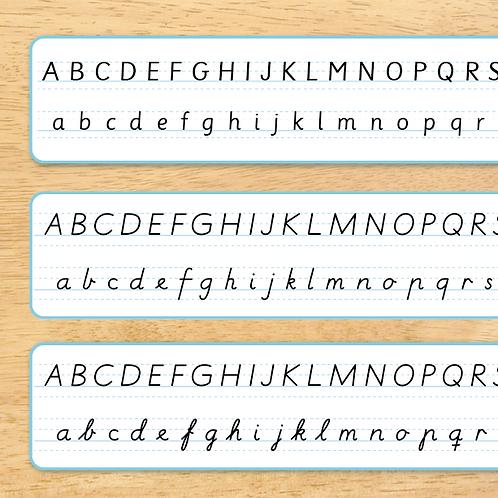 Alfabet trykkskrift - skrivestøtte til pulten