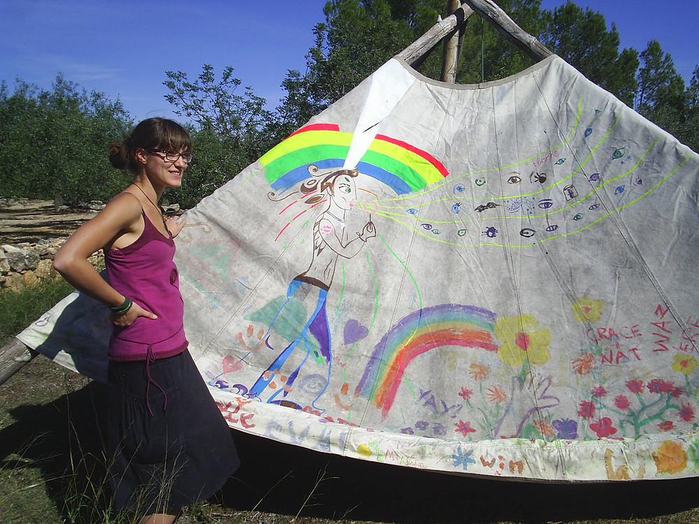 Cleo and yurt.JPG