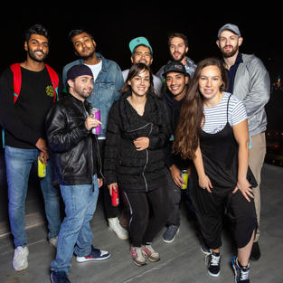Audrey Mora with Comedians