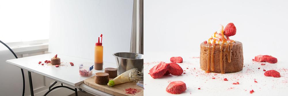 Food styling photograph of Vanilla cake and caramel sauce.