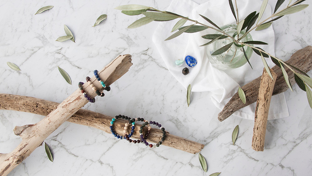 Product styling, diffuser bracelets photographed.