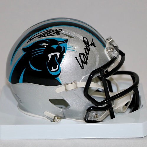Wesley Walls & Greg Olsen Autographed Carolina Panthers Mini Helmet