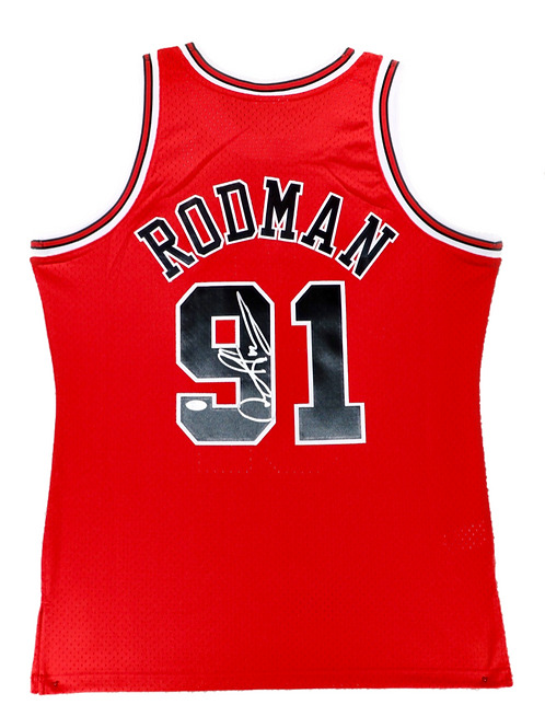 Dennis Rodman Autographed Mitchell & Ness Bulls Jersey (Red)