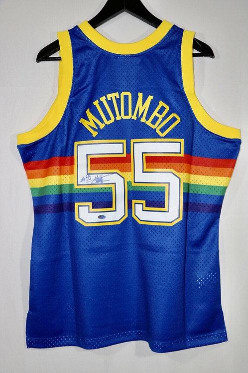 Dikembe Mutombo Autographed Denver Nuggets M&N Swingman Jersey