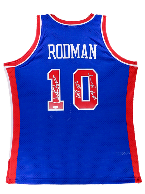 Dennis Rodman Autographed Mitchell & Ness Pistons Jersey (Blue) 2 Inscription