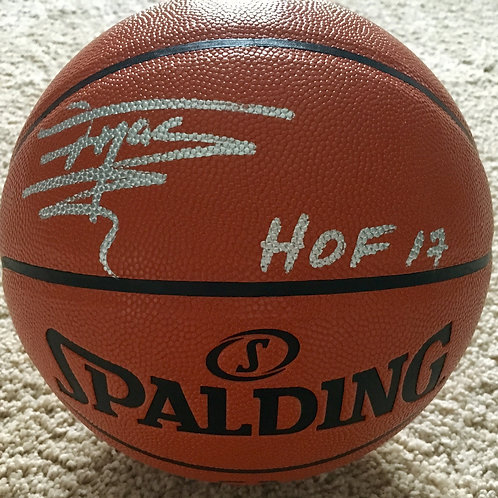 Tracy McGrady Autographed Basketball w HOF 17