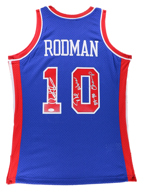 Dennis Rodman Autographed Mitchell & Ness Pistons Jersey (Blue) 2 Insc.