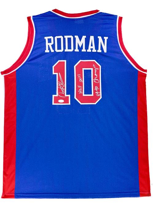 Dennis Rodman Autographed Custom Jersey (Blue) HOF 2011 & 89 90 Cham
