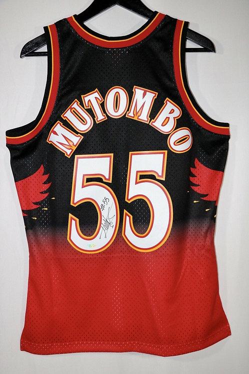 Dikembe Mutombo Autographed Atlanta Hawks M&N Swingman Jersey