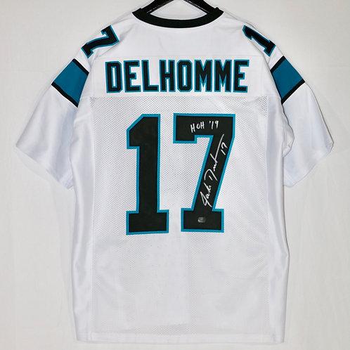 "Jake Delhomme Autographed Carolina Panthers Jersey with ""HOH 19"" inscription"