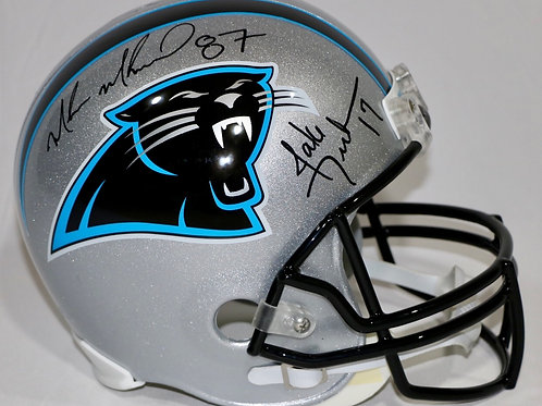 Jake Delhomme & Muhsin Muhammad Autographed Panthers Throwback FS Helme