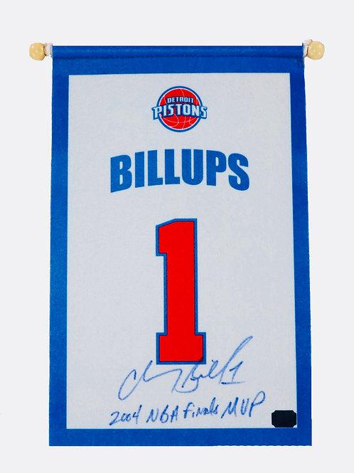 "Chauncey Billups Autographed Mini Banner ""2004NBA Finals MVP"""
