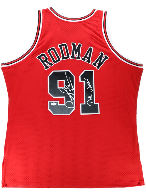 Dennis Rodman Autographed Mitchell & Ness Bulls Jersey (Red) The Worm