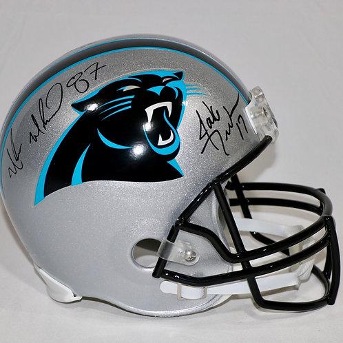 Jake Delhomme & Muhsin Muhammad Autographed Panthers FS Helmet