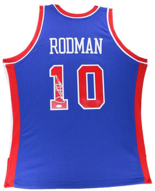 huge selection of 30d1e 88103 Dennis Rodman Autographed Mitchell & Ness Pistons Jersey (Blue)
