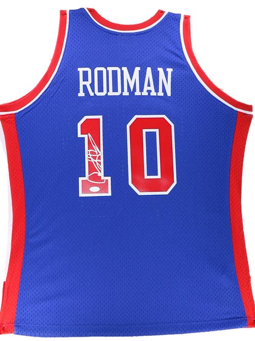 Dennis Rodman Autographed Mitchell & Ness Pistons Jersey (Blue)