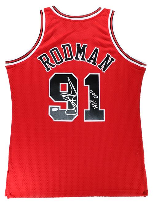 Dennis Rodman Autographed Mitchell & Ness Bulls Jersey (Red) HOF 2011