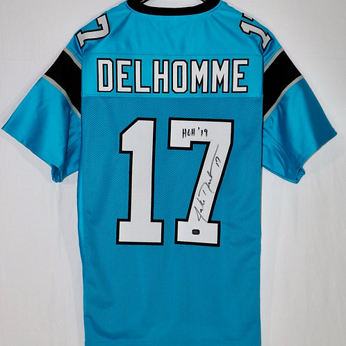 """Jake Delhomme Autographed Carolina Panthers Jersey with """"HOH 19"""" inscrip"""