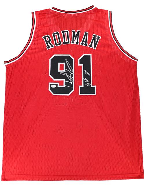 Dennis Rodman Autographed Custom Jersey (Red) HOF 2011