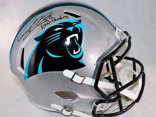 Greg Olsen Autographed Carolina Panthers Full Size Replica Helmet Keep Pounding