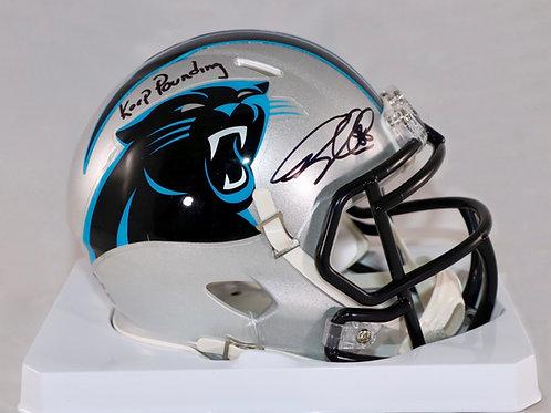 Greg Olsen Autographed Carolina Panthers Mini Helmet w Keep Pounding Inscription