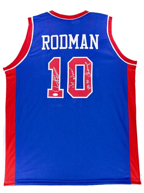 Dennis Rodman Autographed Custom Jersey (Blue) The Worm & 89 90 Champs